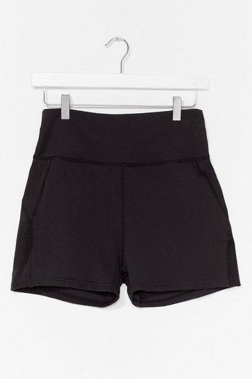 Black Mesh Insert Booty Sports Short