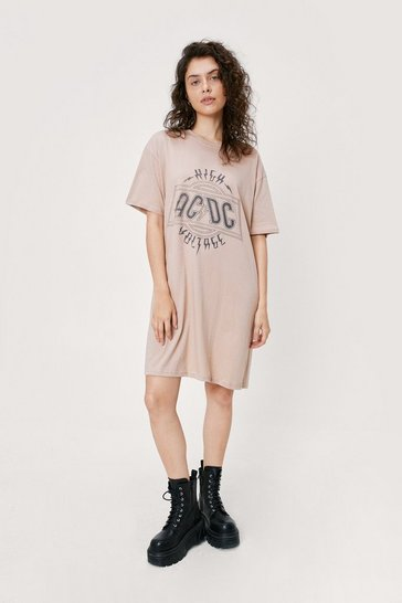 Natural Know Your ACDC Graphic Tee Dress