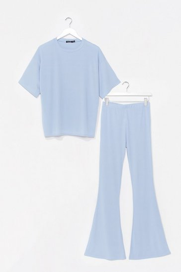 Blue Up Tee You Top and Flare Trousers Set