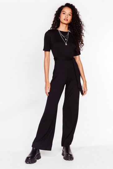 Black Love Never Belt So Good Wide-Leg Jumpsuit
