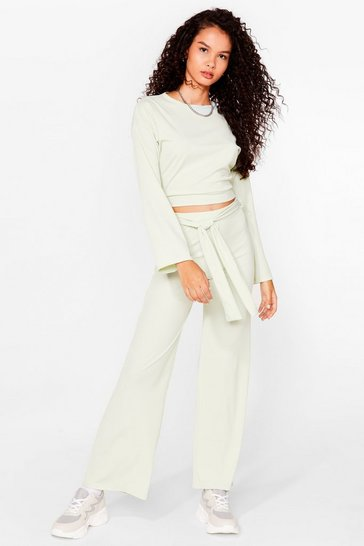 Green Two Times the Charm Crop Top and Wide-Leg Pants Set