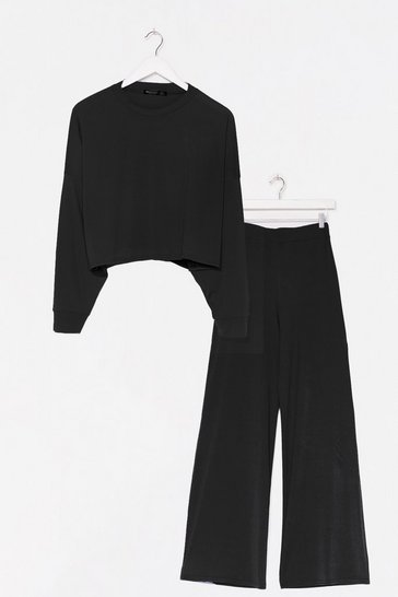 Blue Crop the Act Sweater and Wide-Leg Pants Set