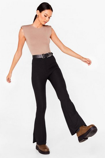 Black Basic Ribbed High Waisted Flare Pants