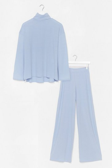 Blue One Heck Of A Night Top and Pant Set