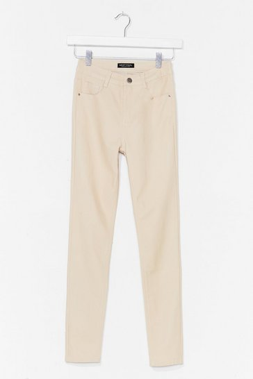 Cream Get Coated High-Waisted Skinny Jeans