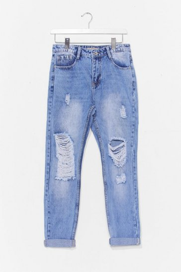 Blue Distressed Knee Faded Mom Jeans