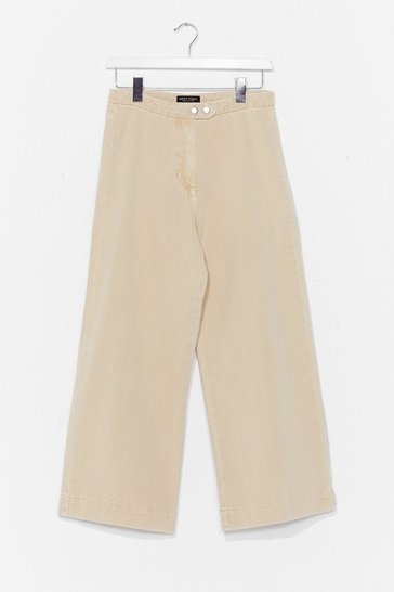 Sand Double Button Wide Leg Cropped Jeans