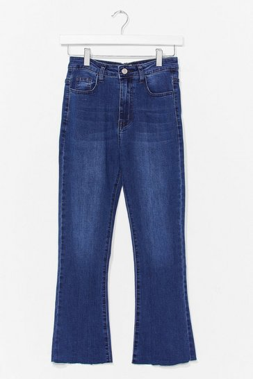 Mid blue Kick Flare Cropped Jean