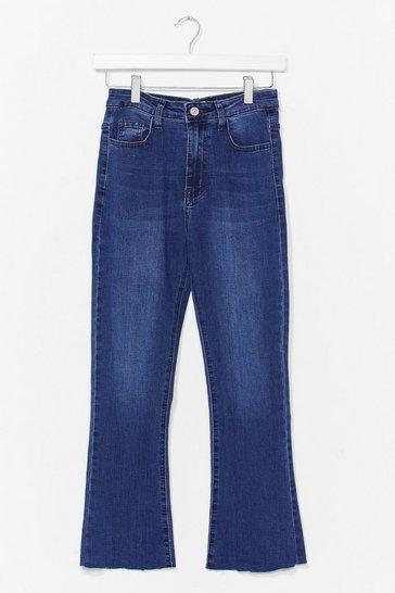 Mid blue Kick Flare Cropped Jean