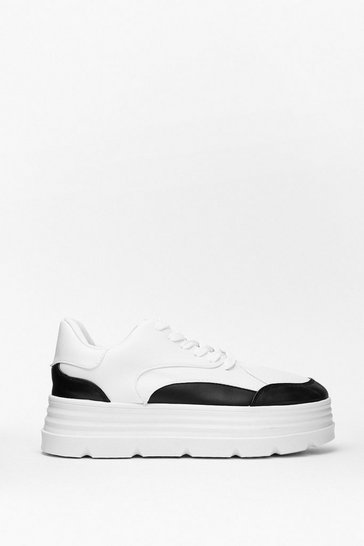Black Sneak Peek Two Tone Platform Sneakers