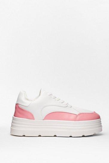 Pink Sneak Peek Two Tone Platform Sneakers