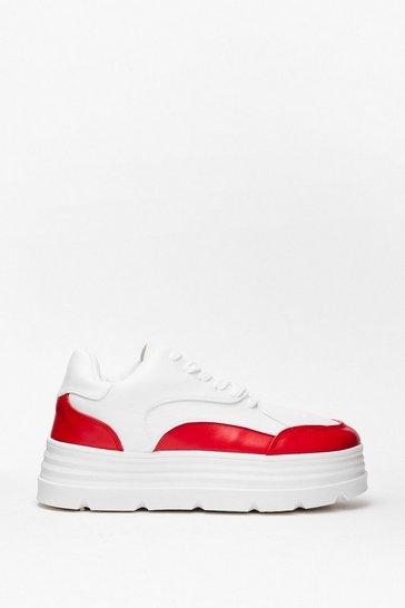 Red Sneak Peek Two Tone Platform Sneakers
