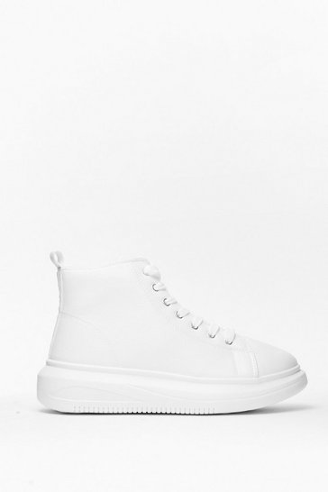 White High Power Top Faux Leather Sneakers