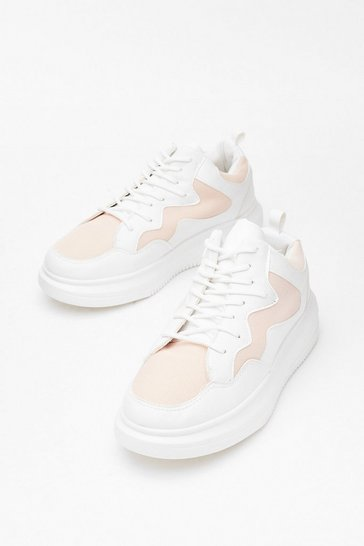 Pink Run Along Faux Leather Chunky Sneakers