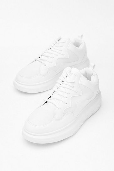 White Run Along Faux Leather Chunky Sneakers