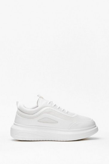 White The Right Direction Two-Tone Chunky Sneakers