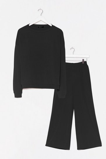 Black It Takes Crew Sweatshirt and Pants Lounge Set