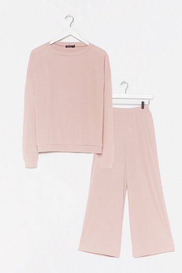 Pink It Takes Crew Sweatshirt and Pants Lounge Set