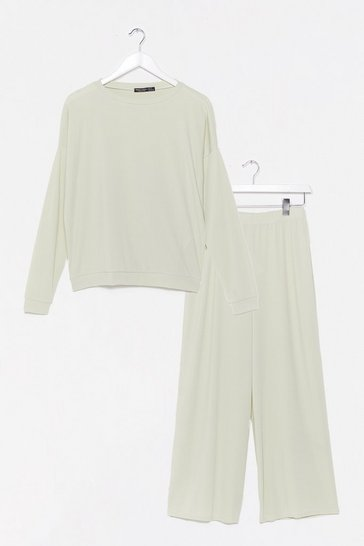 Sage It Takes Crew Sweatshirt and Pants Lounge Set