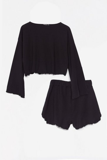 Black Ruffle Hem Pyjama Shorts Set