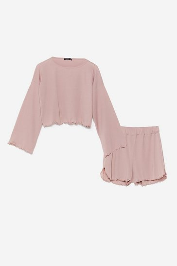 Mauve Rib's Been a Long Day Ruffle Pajama Shorts Set