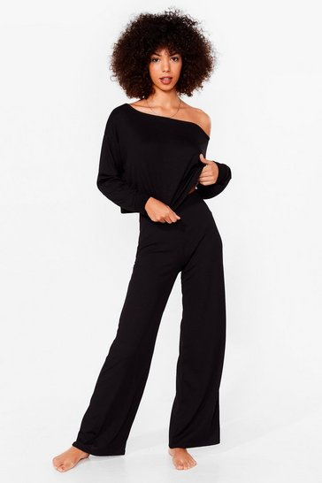 Black Keep Off-the-Shoulder Top and Wide-Leg Trousers Set