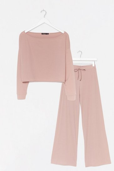 Mauve Rib Oversized Sweater + Wide Leg Pants Set