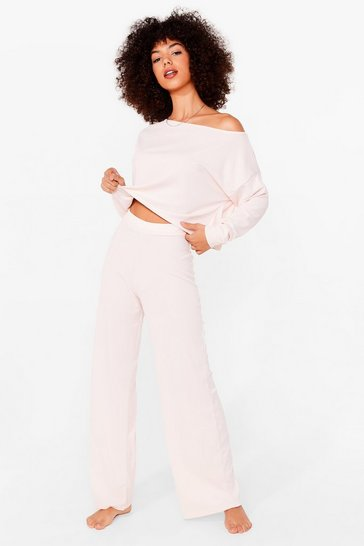 Pink Keep Off-the-Shoulder Top and Wide-Leg Pants Set