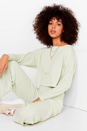Sage Rib Oversized Sweater + Wide Leg Pants Set