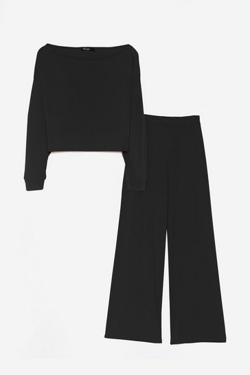 Black Relaxed Boat Neck Top and Wide Leg Pants Pajama Set