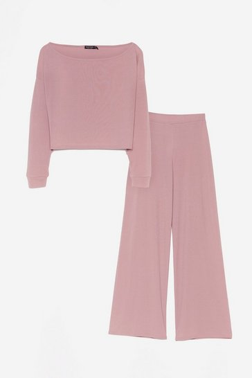 Mauve Rib's Time to Chill Crop Top and Wide-Leg Trousers Set