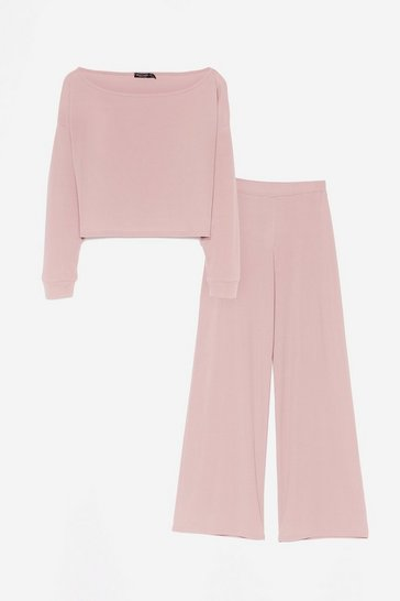 Pink Rib's Time to Chill Crop Top and Wide-Leg Pants Set