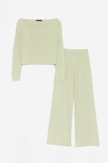 Sage Rib's Time to Chill Crop Top and Wide-Leg Pants Set