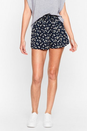 Black Extra Bloom Floral High-Waisted Shorts