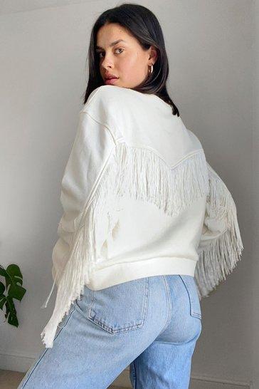 Cream Brush Up on It Fringe Sweatshirt