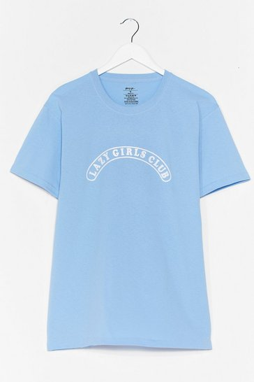 Light blue Lazy Girls Club Graphic Tee