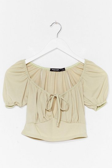 Sage Call Me Romantic Puff Sleeve Crop Top