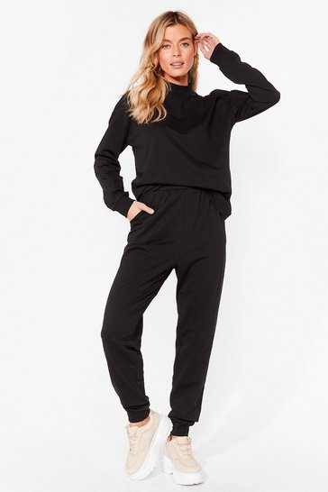 Ensemble sportif sweat & pantalon de jogging Gym vais à fond, Black