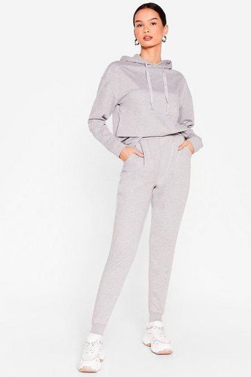 Grey Sorry We're Late Relaxed Hoodie and Jogger Set