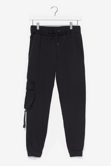 Black Cargo Get It High-Waisted Joggers