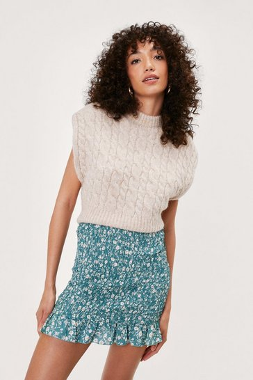 Sage Floral Shirred Ruffle Mini Skirt