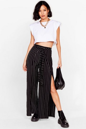 Black Stripe Wide Leg Trouser