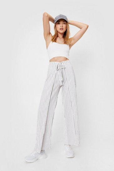Cream Power Stride Stripe Belted Wide-Leg Pants