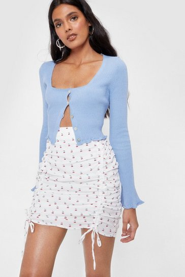 White Cherry Print Ruched Mini Skirt