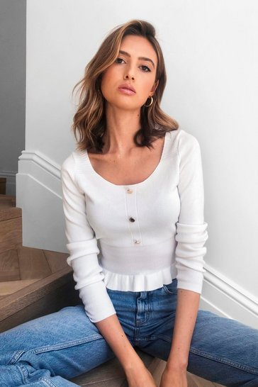 Ivory Frill Me Knitted Button Top