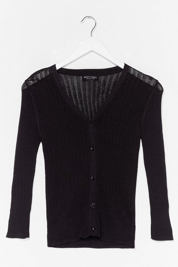 Black Touch of Magic Ribbed Cardigan