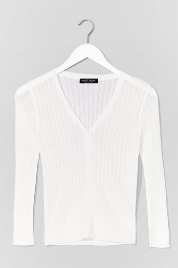 White Touch of Magic Ribbed Cardigan