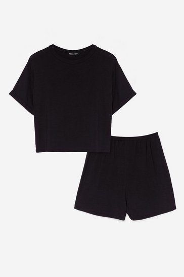 Black Tee Right Back Shorts Pajama Set