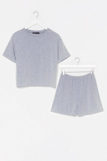 Grey marl Tee Right Back Pajama Shorts Set