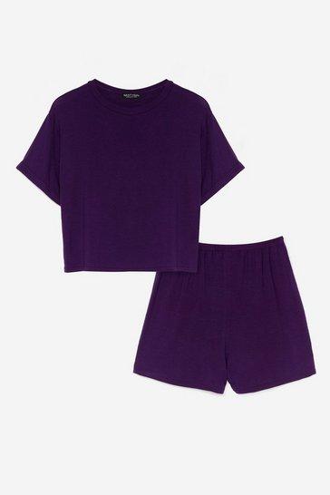 Purple Tee Right Back Pajama Shorts Set